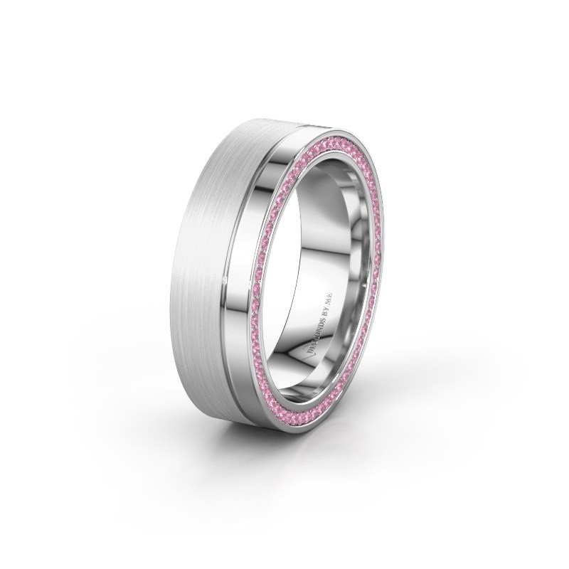Wedding ring WH0313L16B 585 white gold pink sapphire ±0.24x0.08 in