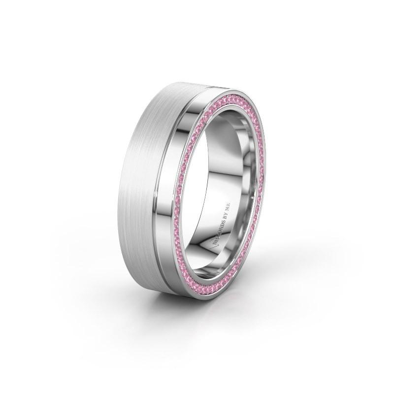 Trouwring WH0313L16B 585 witgoud roze saffier ±6x2 mm