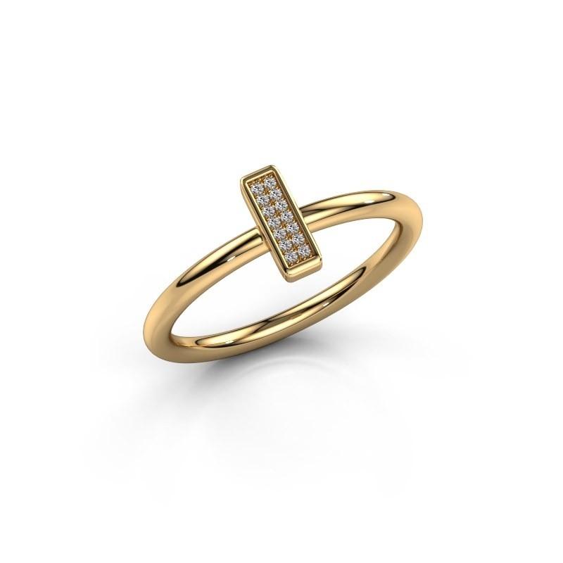 Ring Shape stripe small 375 goud zirkonia 0.8 mm