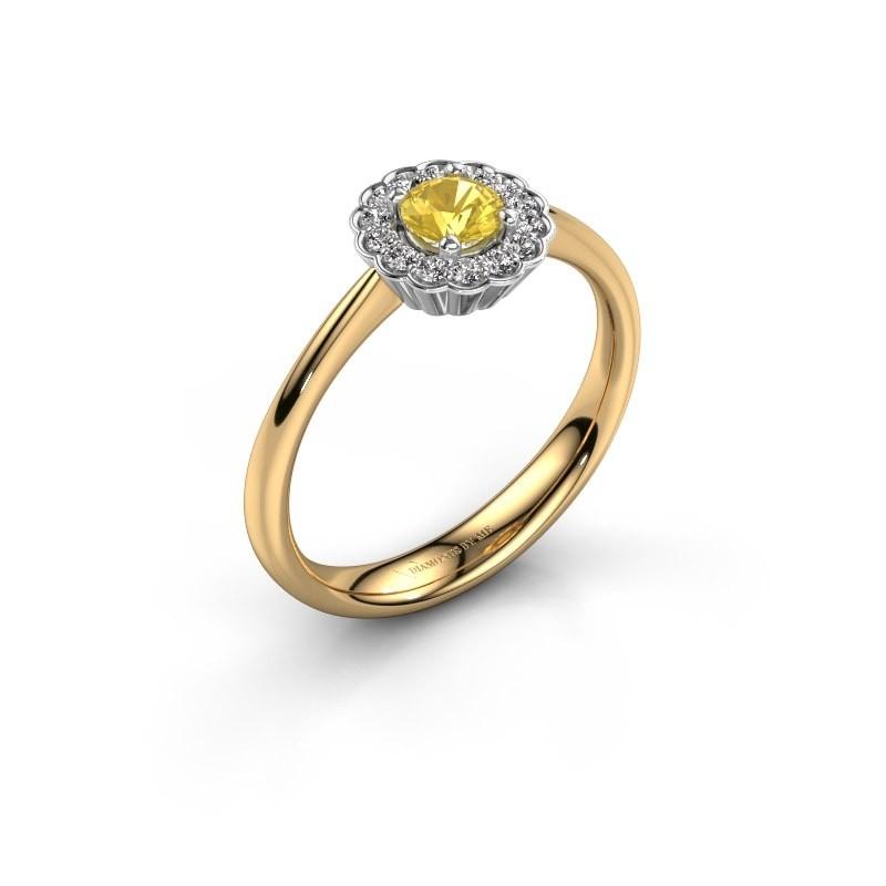 Verlovingsring Debi 585 goud gele saffier 4.2 mm