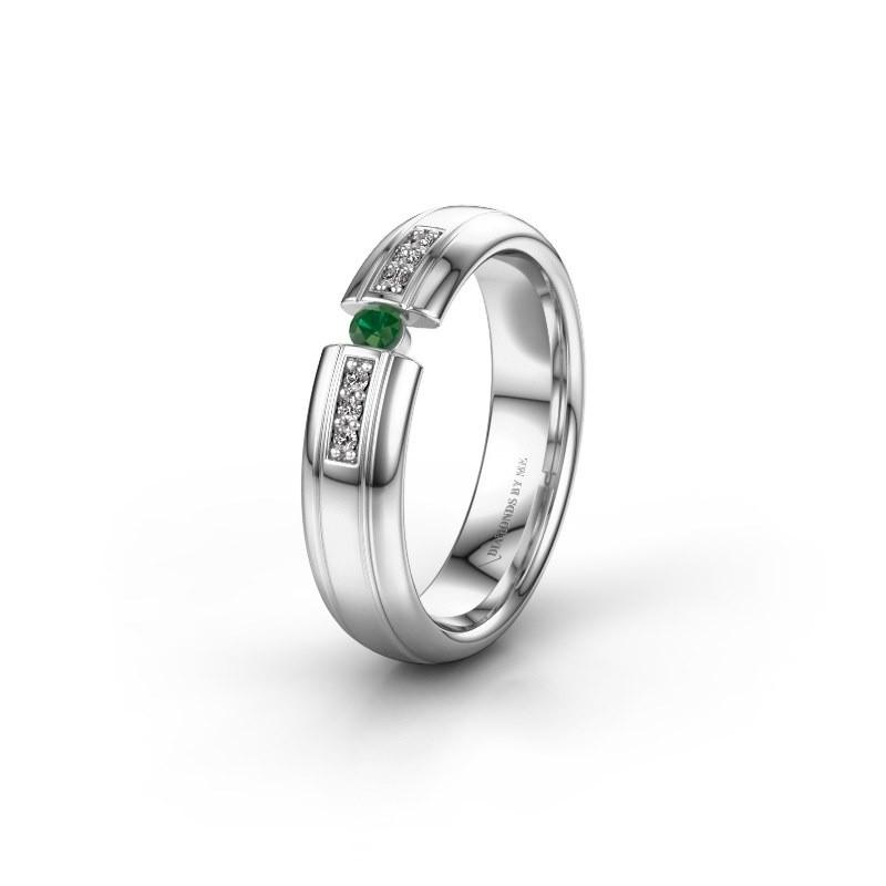 Trouwring WH2128L26C 950 platina smaragd ±5x2 mm