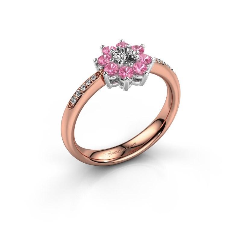 Verlovingsring Camille 2 585 rosé goud roze saffier 3.4 mm