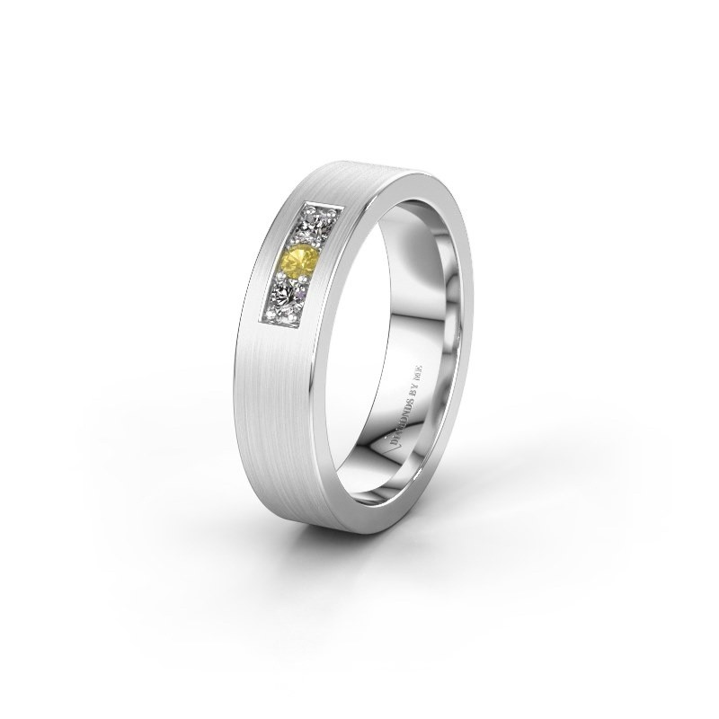 Wedding ring WH0110L15BM 375 white gold yellow sapphire ±5x2 mm