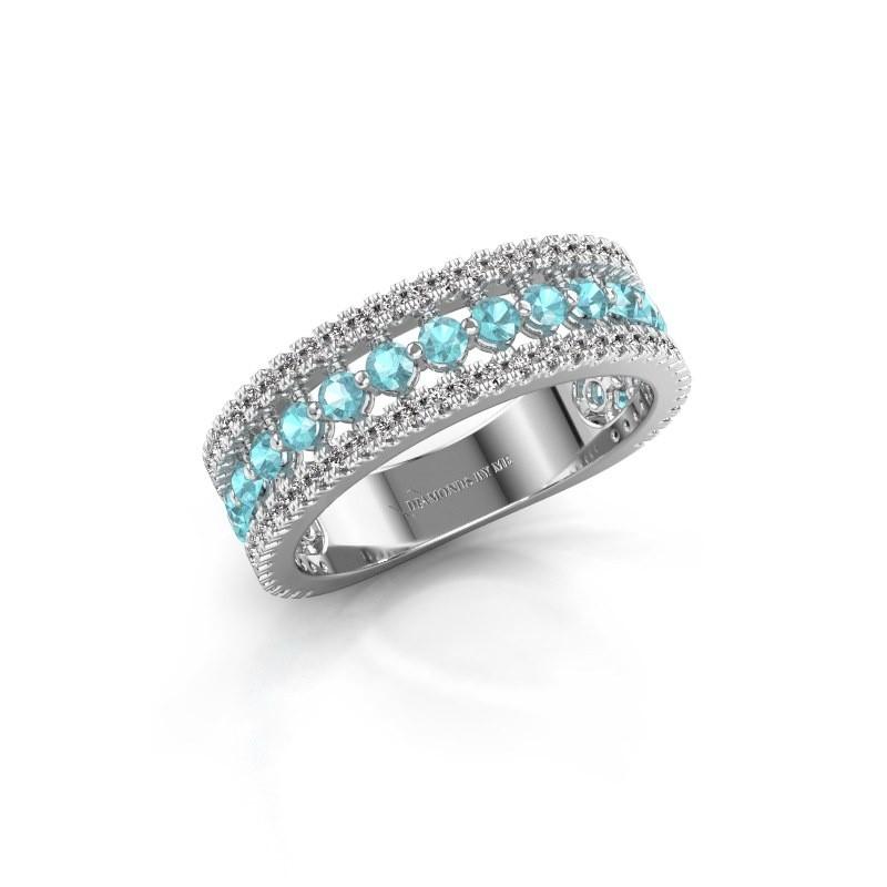 Verlovingsring Elizbeth 1 950 platina blauw topaas 2 mm