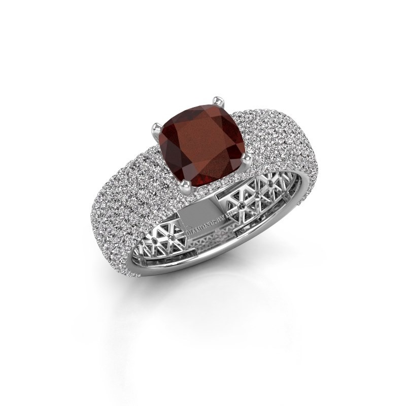 Engagement ring Darcy 585 white gold garnet 7 mm