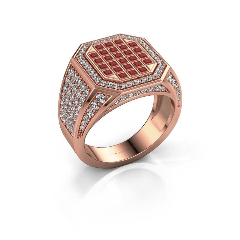 Heren ring Bjorn 375 rosé goud robijn 1.5 mm