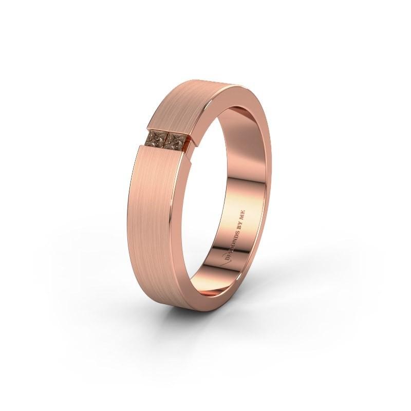Wedding ring WH2136M15E 375 rose gold brown diamond ±5x2.4 mm