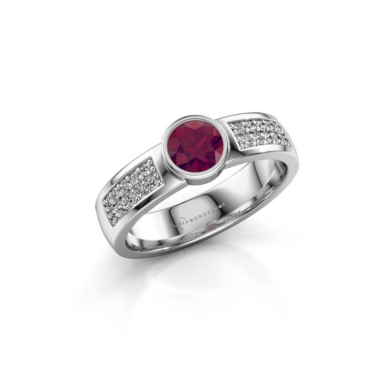 Engagement ring Ise 3 585 white gold rhodolite 4.7 mm