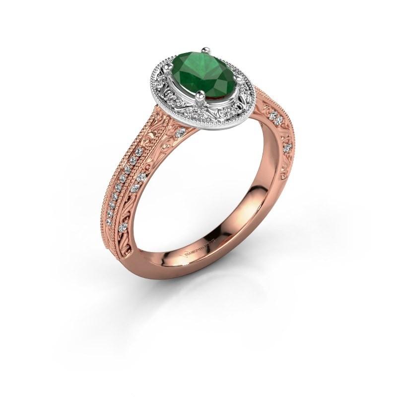 Verlovingsring Alice OVL 585 rosé goud smaragd 7x5 mm