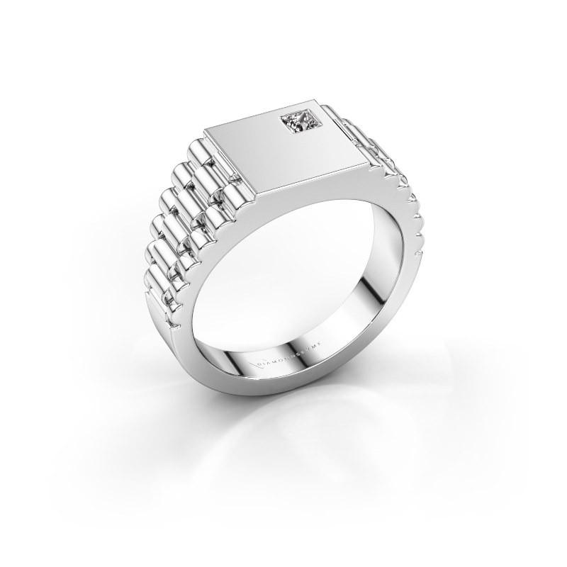 Rolex stijl ring Pelle 585 witgoud zirkonia 3 mm