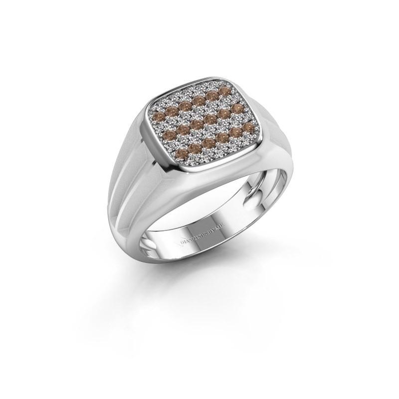 Pinky ring Robbert 375 white gold brown diamond 0.558 crt