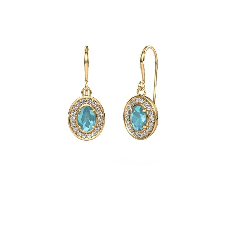 Oorhangers Layne 1 375 goud blauw topaas 6.5x4.5 mm