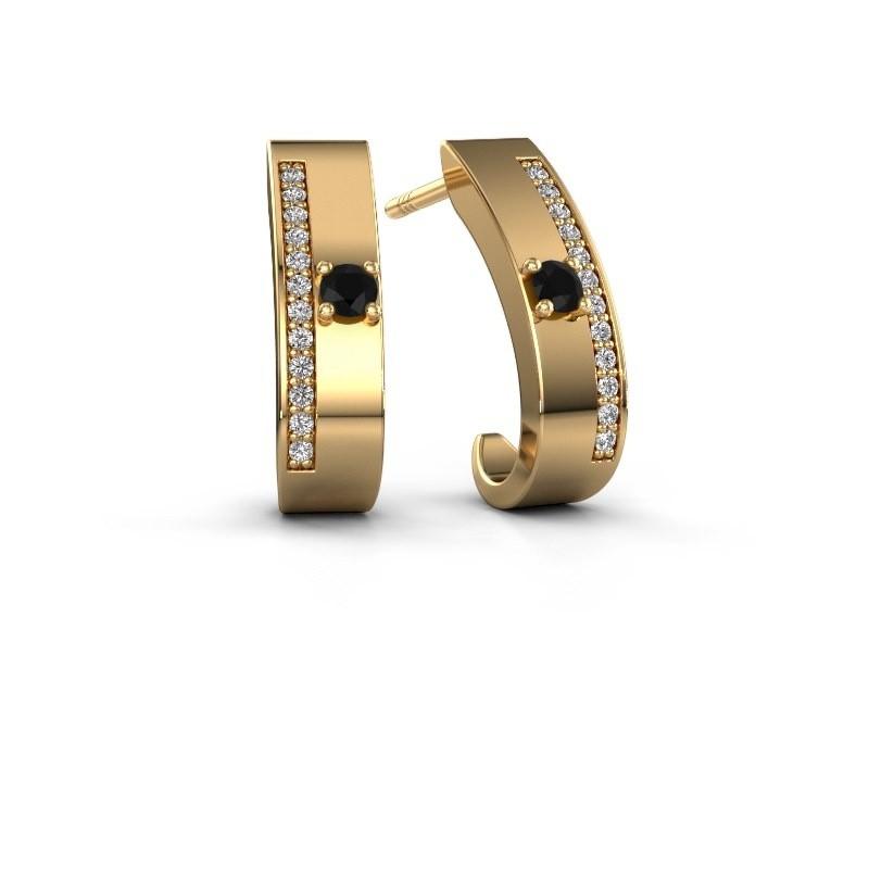 Oorbellen Vick1 375 goud zwarte diamant 0.252 crt