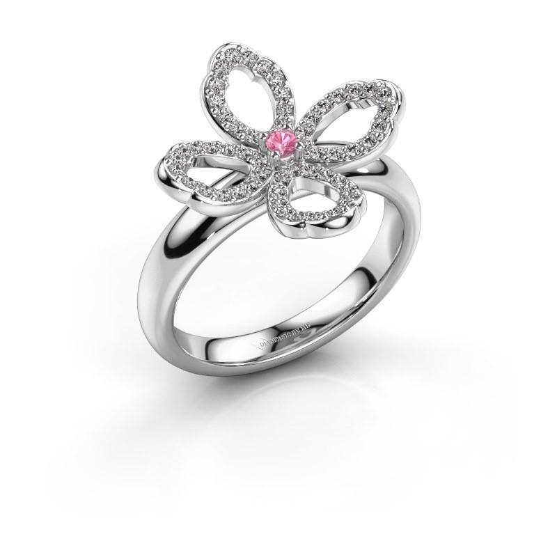 Ring Chelsea 925 zilver roze saffier 2 mm