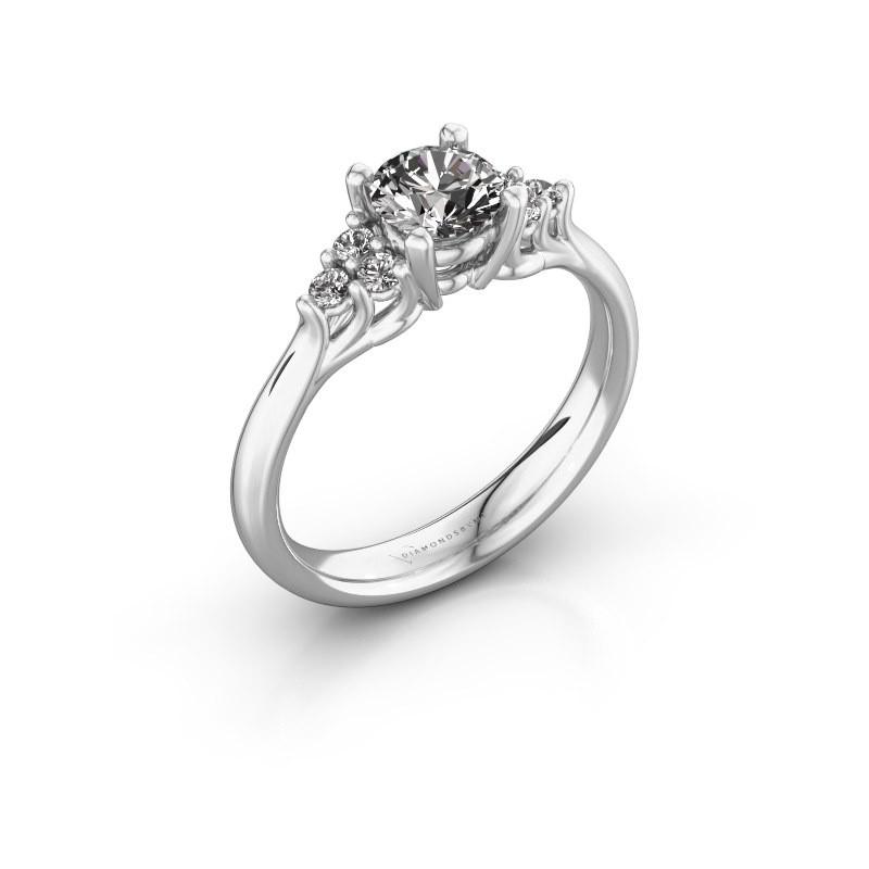 Verlovingsring Monika RND 585 witgoud diamant 0.75 crt