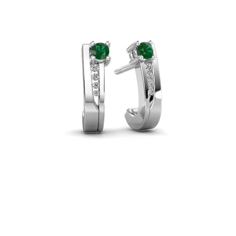Oorbellen Jewell 585 witgoud smaragd 2.7 mm