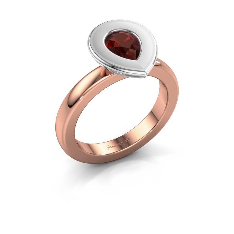 Stapelring Eloise Pear 585 rosé goud granaat 7x5 mm