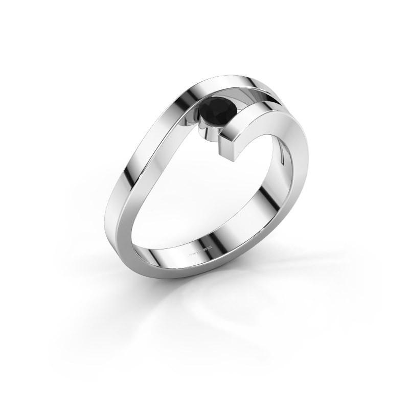 Ring Evalyn 1 925 zilver zwarte diamant 0.24 crt