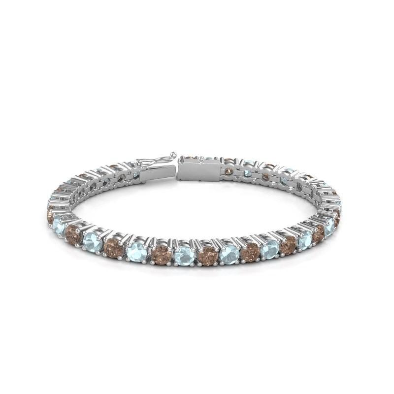 Tennisarmband Ming 750 witgoud bruine diamant 17.00 crt