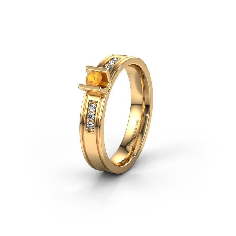 Trouwring WH2108L14A 585 goud citrien ±4x1.7 mm