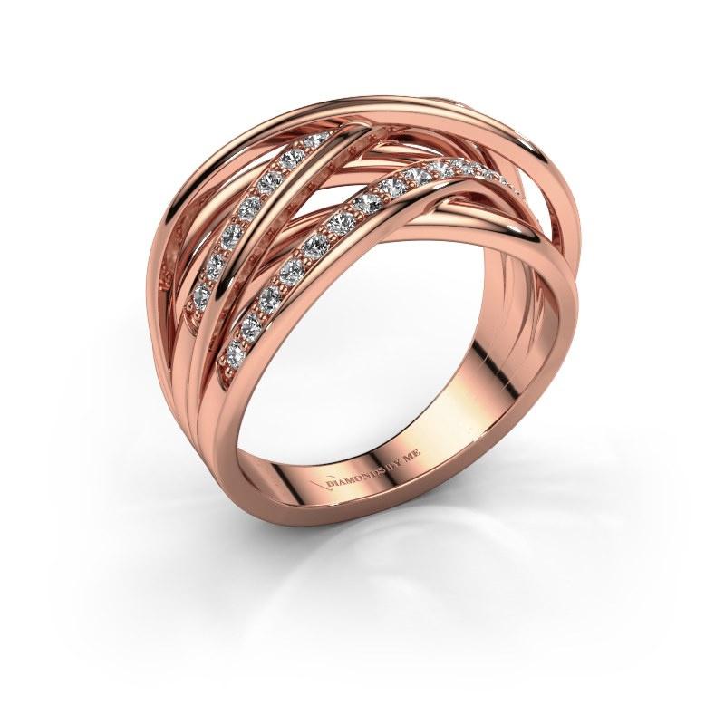 Bague Fem 2 585 or rose diamant 0.450 crt