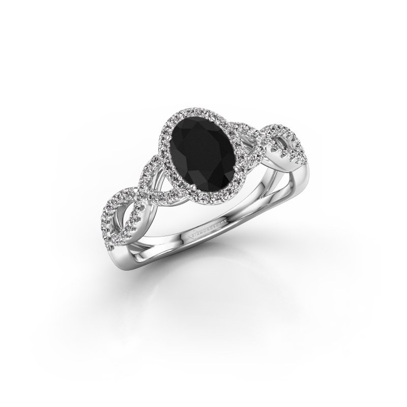 Verlovingsring Dionne ovl 950 platina zwarte diamant 1.38 crt