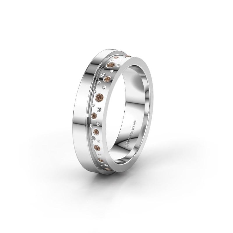 Trouwring WH6016L15E 925 zilver bruine diamant ±5x2.6 mm
