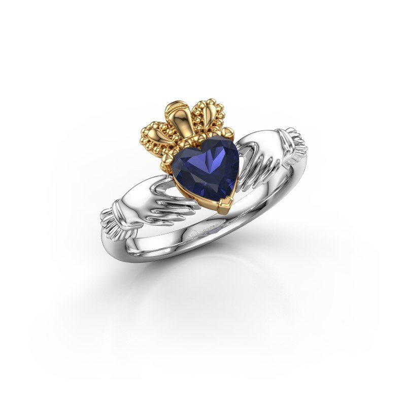 Ring Claddagh 2 585 witgoud saffier 6 mm