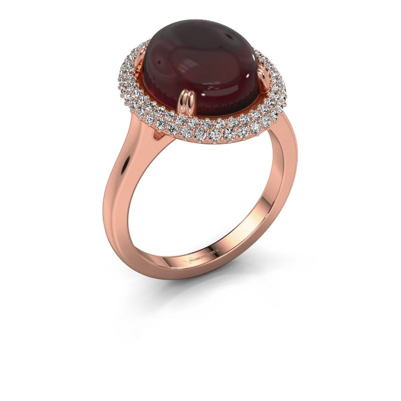 Bague Jayna 375 or rose grenat 12x10 mm