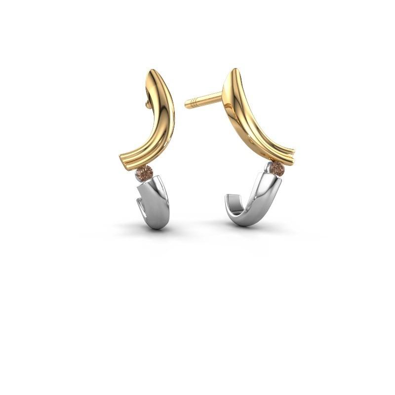 Oorbellen Tish 585 goud bruine diamant 0.03 crt
