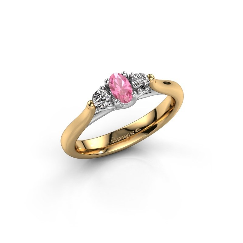 Verlovingsring Jente OVL 585 goud roze saffier 5x3 mm