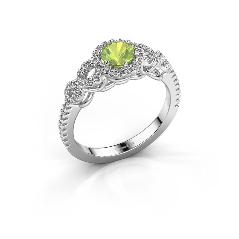 Engagement ring Sasja 950 platinum peridot 5 mm
