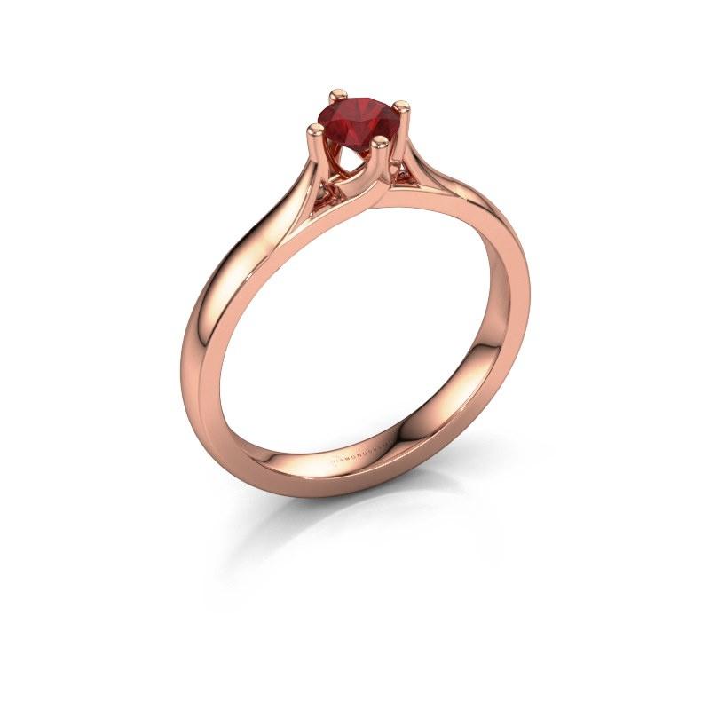Verlovingsring Eva 585 rosé goud robijn 4.2 mm