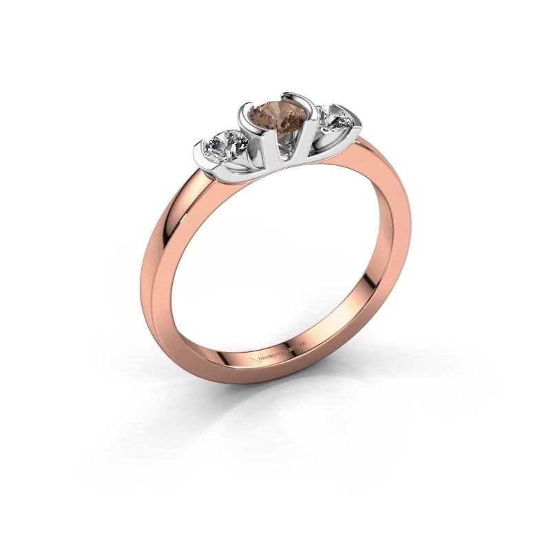 Bague Lucia 585 or rose diamant brun 0.40 crt