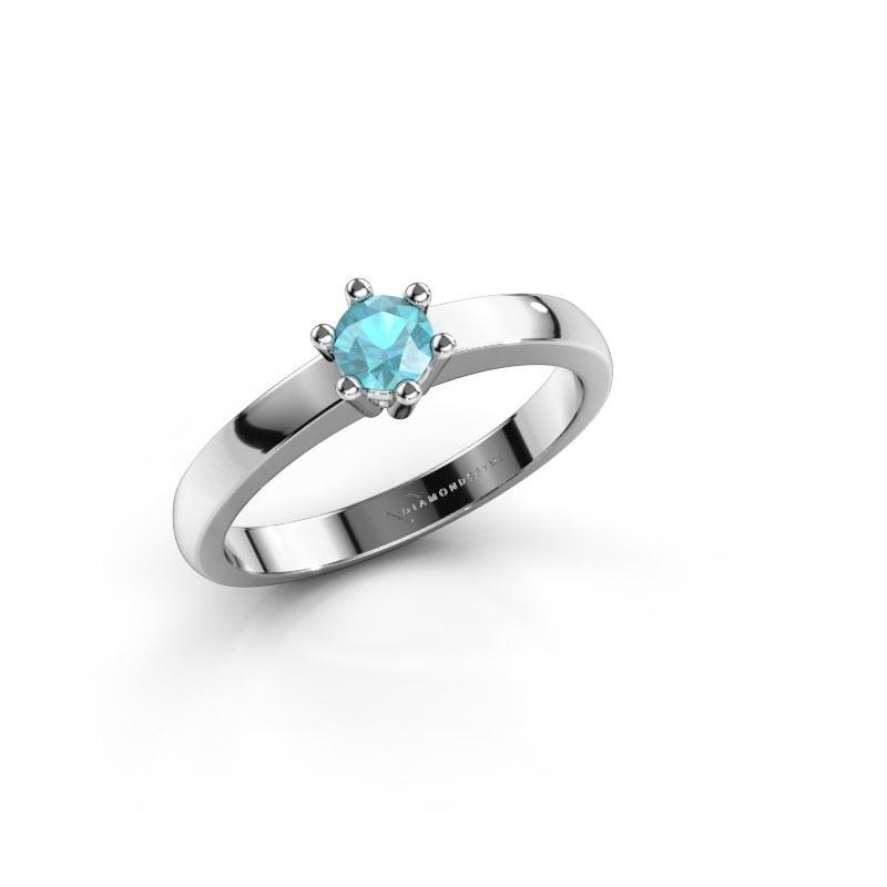 Engagement ring Luna 1 585 white gold blue topaz 3.7 mm