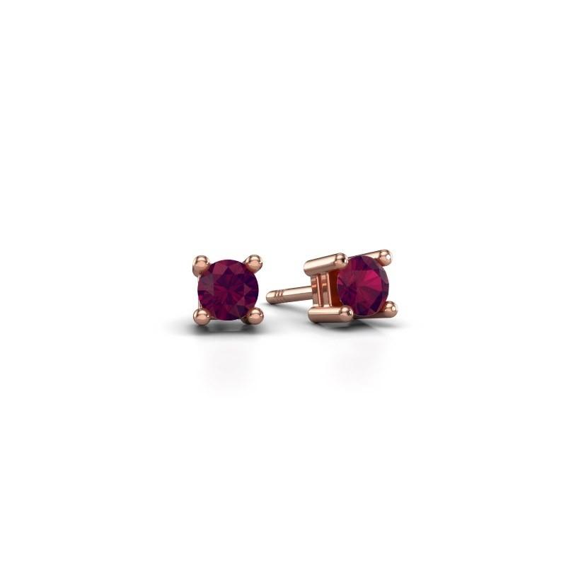 Oorknopjes Eline 375 rosé goud rhodoliet 4 mm