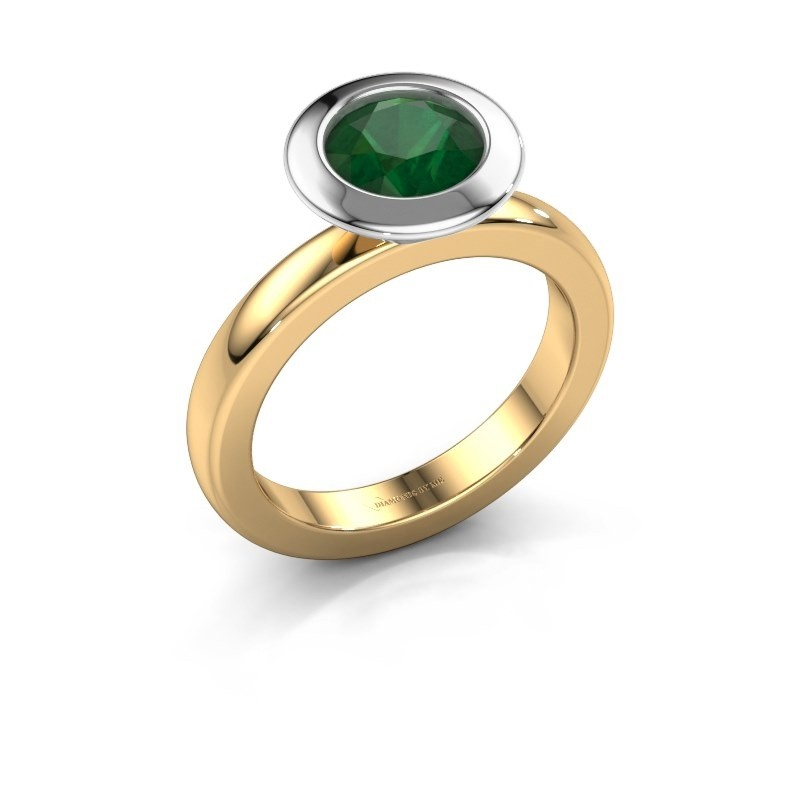 Stacking ring Trudy Round 585 gold emerald 7 mm