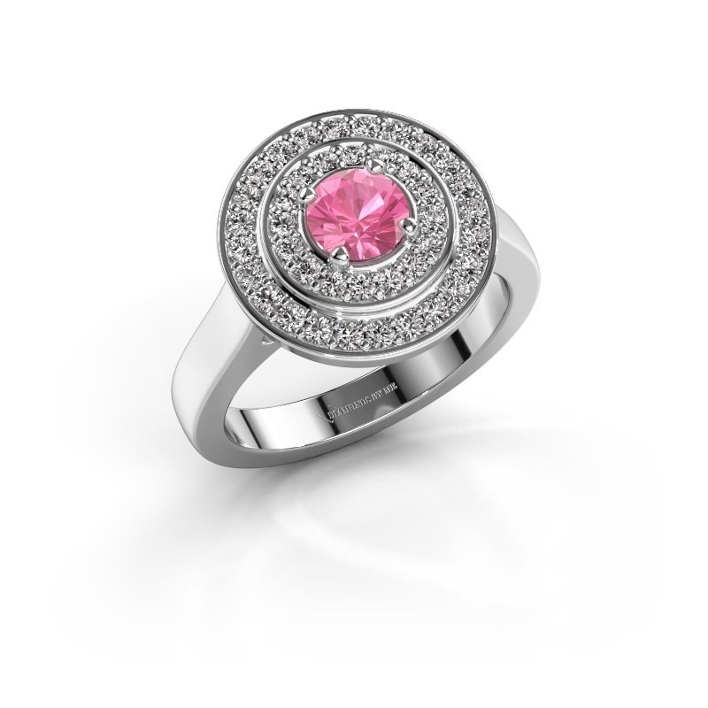 Ring Alecia 1 585 witgoud roze saffier 5 mm