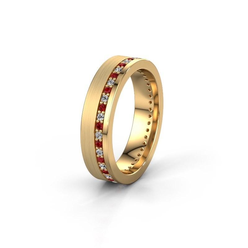 Trouwring WH0303L15BPM 585 goud robijn 1.3 mm ±5x2 mm