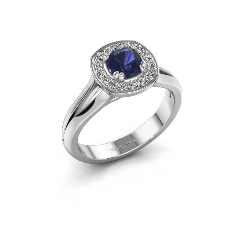 Ring Carolina 1 585 witgoud saffier 5 mm