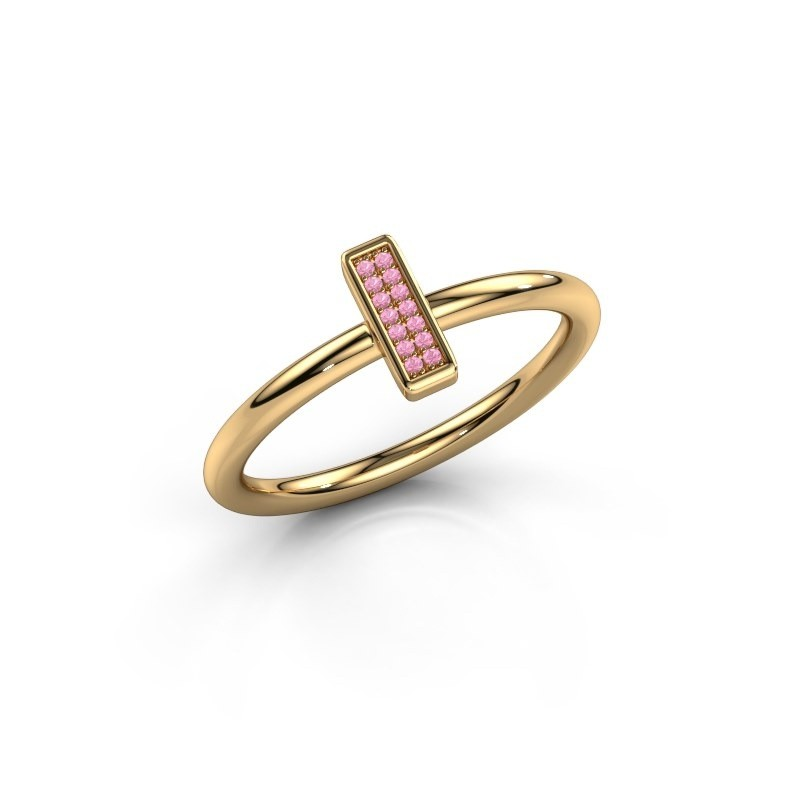 Ring Shape stripe small 375 goud roze saffier 0.8 mm