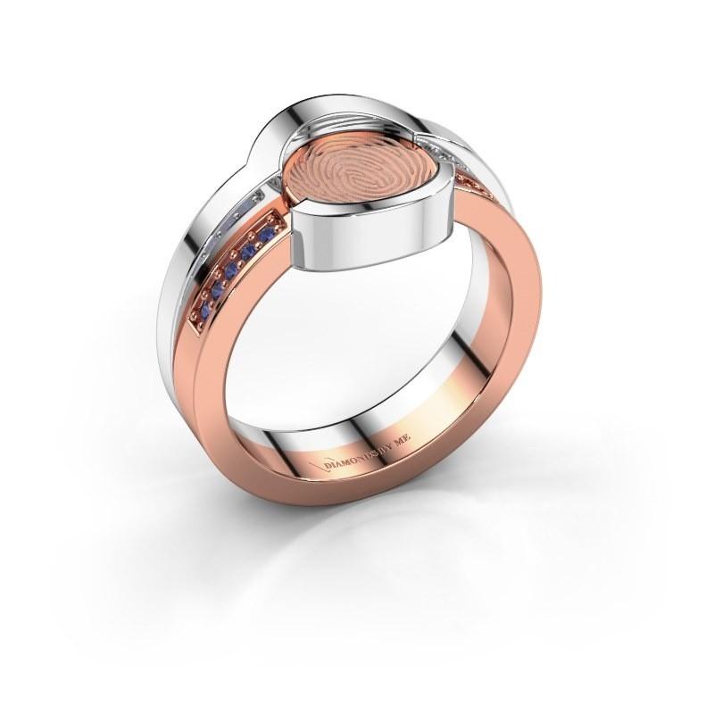 Ring Leander 585 rosé goud saffier 0.8 mm
