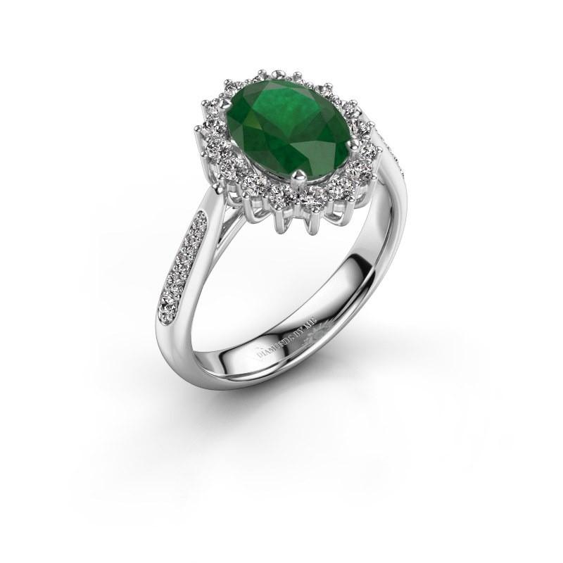 Verlovingsring Margien 2 585 witgoud smaragd 7x5 mm