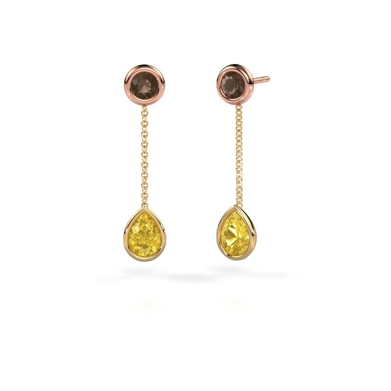 Drop earrings Ladawn 585 gold yellow sapphire 7x5 mm