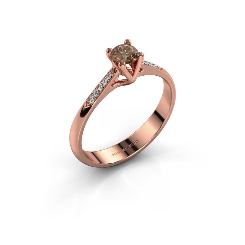 Promise ring Janna 2 375 rosé goud bruine diamant 0.25 crt