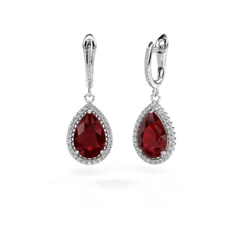 Drop earrings Hana 2 585 white gold ruby 12x8 mm