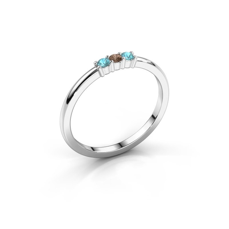 Verlovings ring Yasmin 3 950 platina bruine diamant 0.03 crt