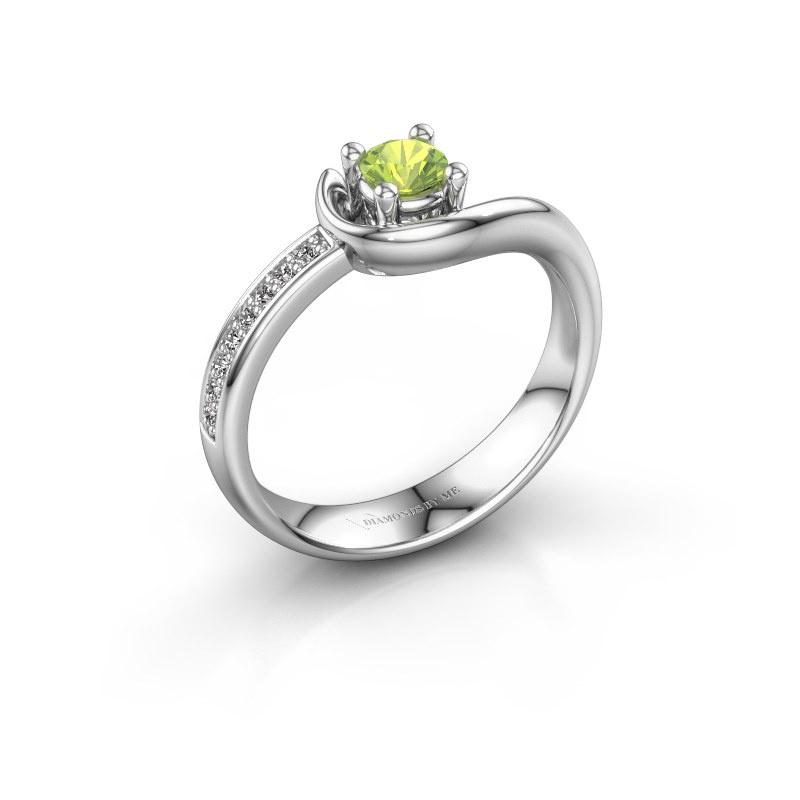 Ring Ceylin 950 platina peridoot 4 mm