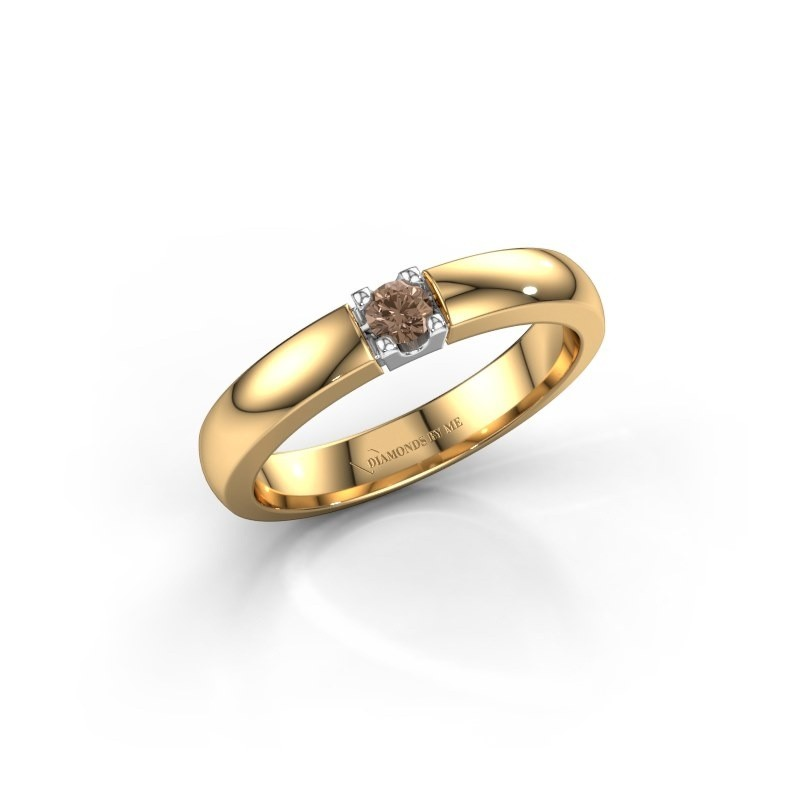 Engagement ring Rianne 1 585 gold brown diamond 0.10 crt