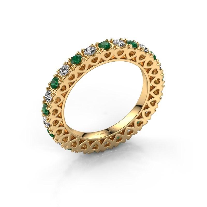 Aanschuifring Hailey 375 goud smaragd 2.2 mm